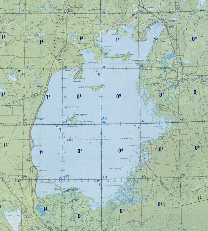 20世纪70年代的咸海地图